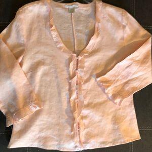Sarah Spencer Tops - Sarah Spencer Ruffle Collar Linen Blouse